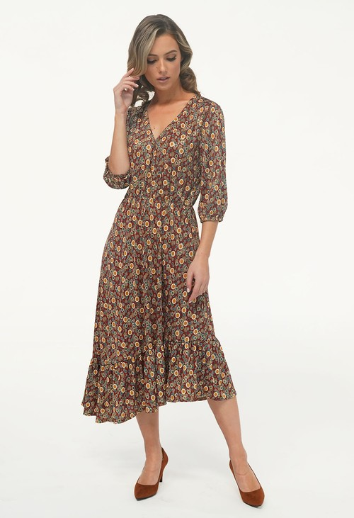 Zapara Rust/Gold Pattern Asymmetric Midi Dress