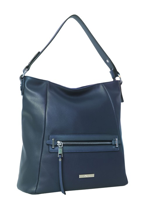 Hampton Navy Zip Hobo Bag