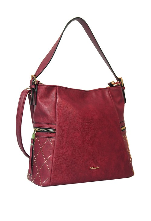 Hampton Red Side Stud Detail Handbag