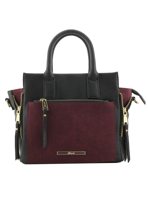 Hampton Black Block Zip Detail Handbag