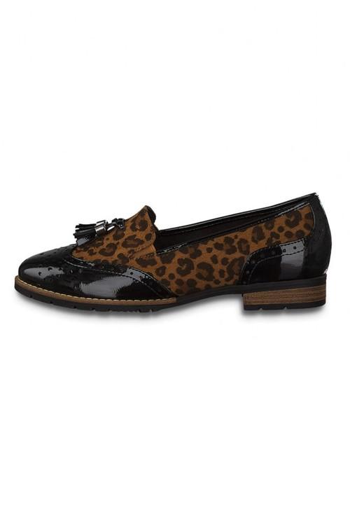 Jana Black & Leopard Print Tassle Loafer Shoe
