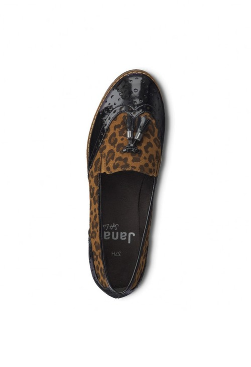 Jana Black & Leopard Print Tassle Loafer Shoe