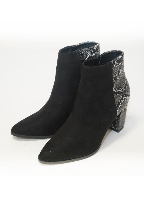 Pamela Scott Black Snake Skin and Suede Heeled Boot