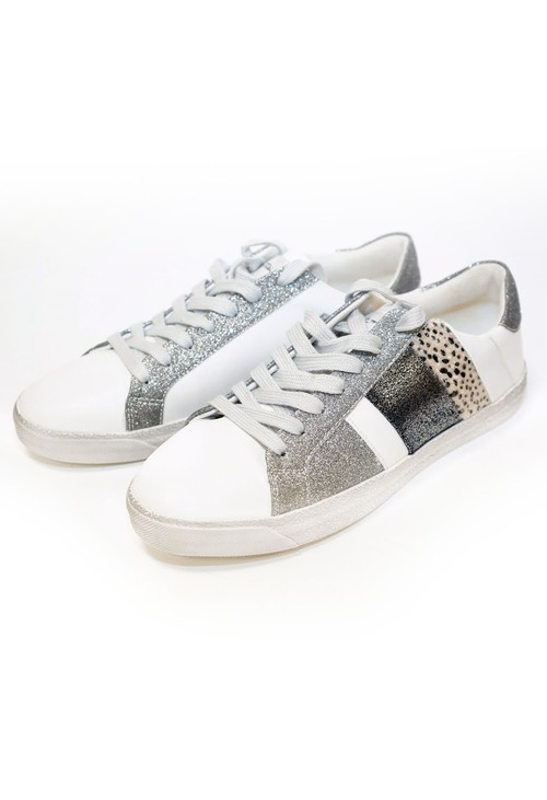 Pamela Scott Silver Sparkle and Leopard Print Detail Trainer