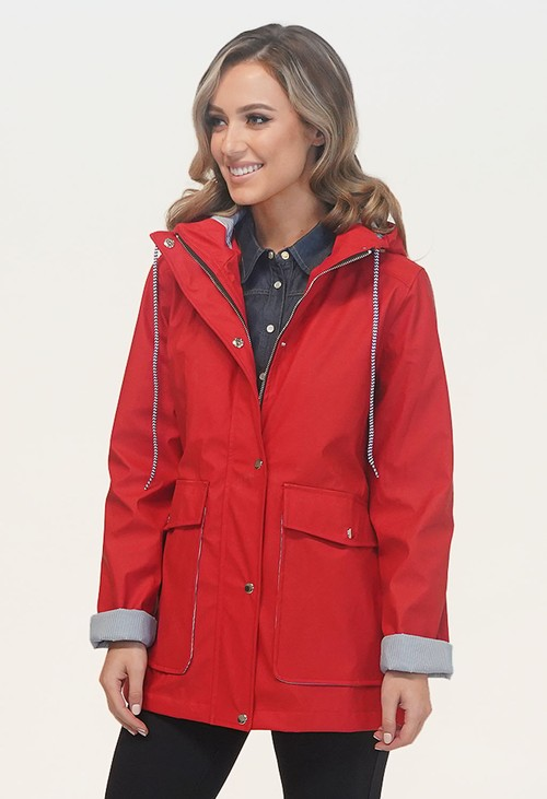 Pamela Scott Red Rain Coat