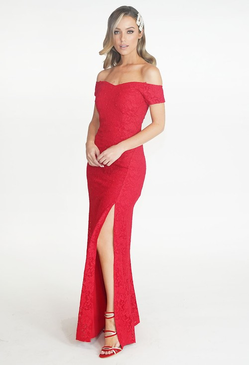 My Michelle Red Sparkle Off The Shoulder Dress