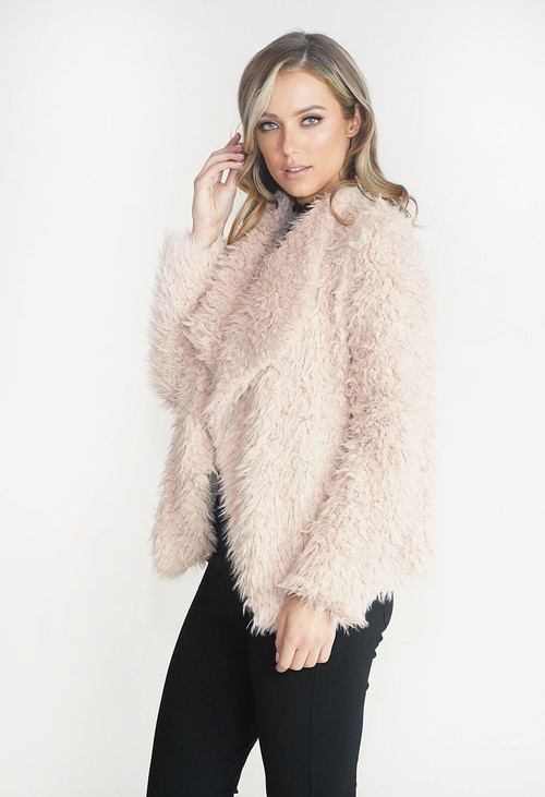 Pamela Scott Beige Faux Fur Teddy Jacket