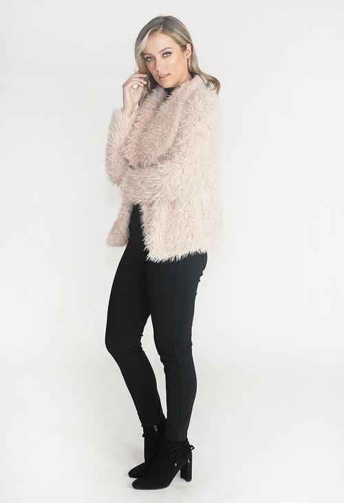 Pamela Scott Beige Faux Fur Teddy Jacket