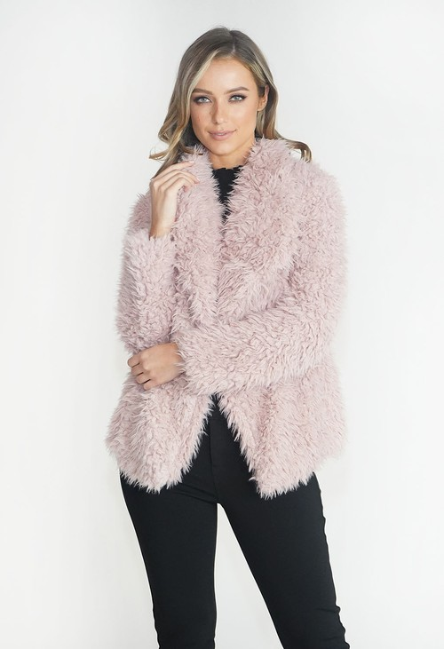 Pamela Scott Rose Faux Fur Teddy Jacket
