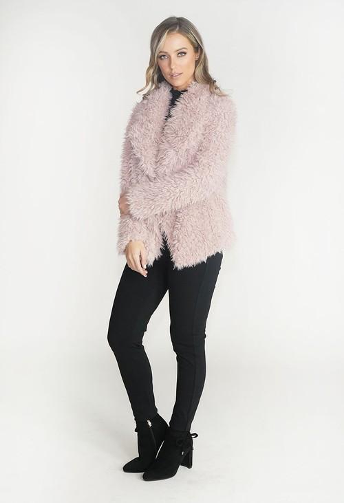 Pamela Scott Rose Faux Fur Teddy Jacket