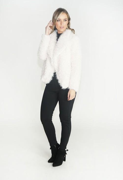 Pamela Scott Off White Faux Fur Teddy Jacket