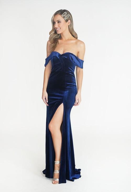 My Michelle Navy Velvet Style Off The Shoulder Dress