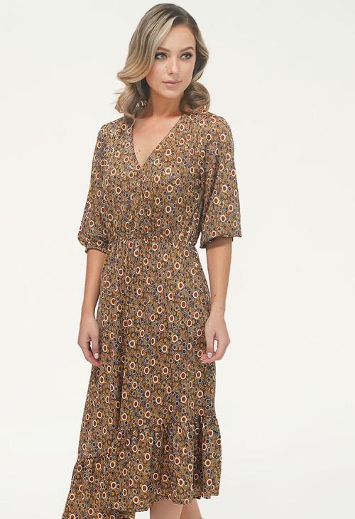 Zapara Khaki/Gold Pattern Asymmetric Midi Dress