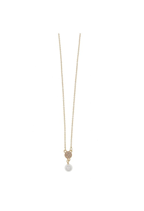 Something Special PEARL BLOOM PAVE DISC NECKLACE
