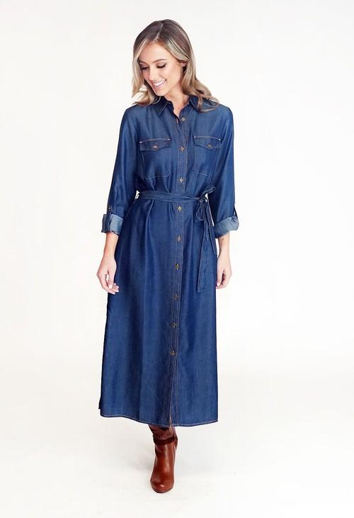 Twist Midi Length Tie Waist Denim Shirt Dress