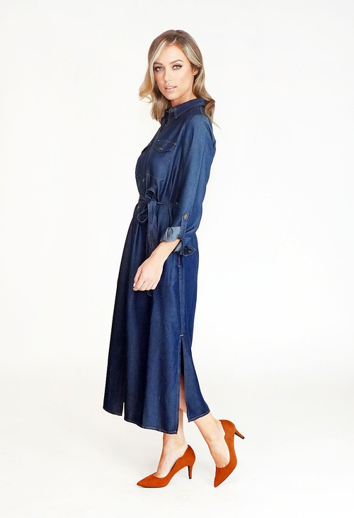 Twist Midi Length Tie Waist Denim Shirt Dress
