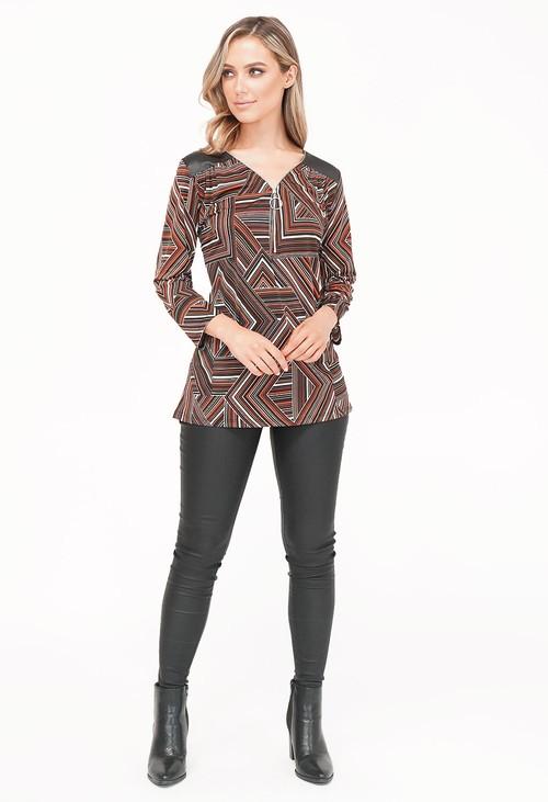 Sophie B Black/Rust Pattern Top with Zip Detail