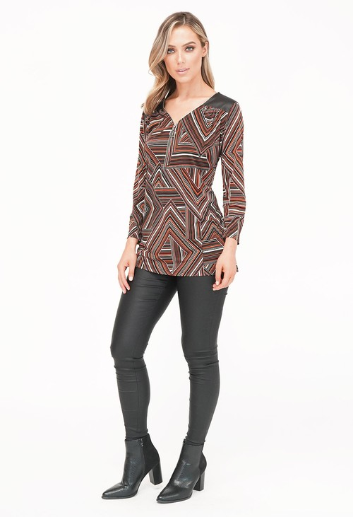 Sophie B Black/Rust Pattern Top with Zip Detail