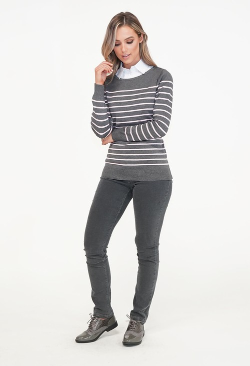 Twist Grey Strip Round Neck Knit