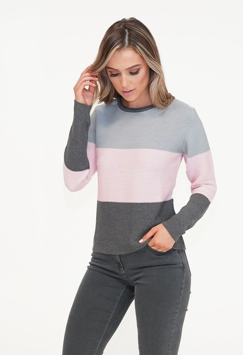 Twist Grey & Pink Colour Block Mix Knit
