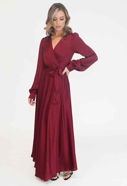 Pamela Scott Bordeaux Tie Waist Lovita Dress
