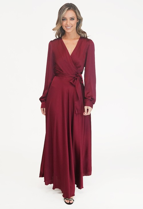 Pamela Scott Bordeaux Tie Waist Lovita Dress