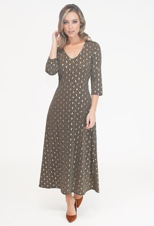 Zapara Black V Neck Diamond Print Dress