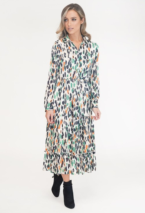 Pamela Scott Multi Coloured Print Shirt Midi Dress