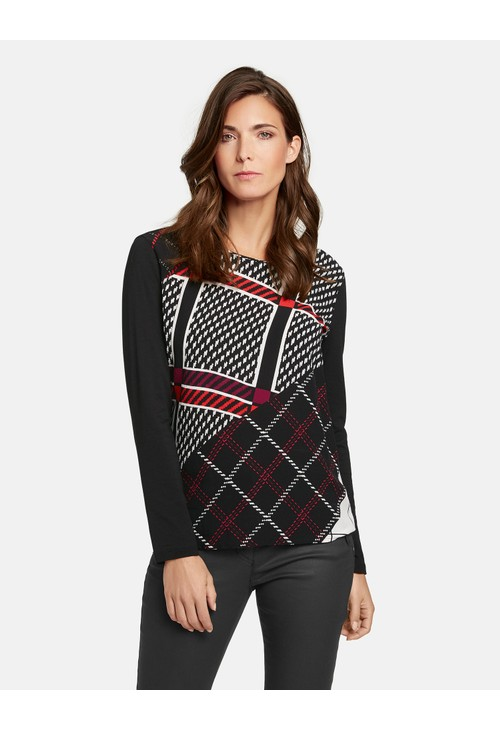 Gerry Weber Black & Red Panelled Check Pattern Top
