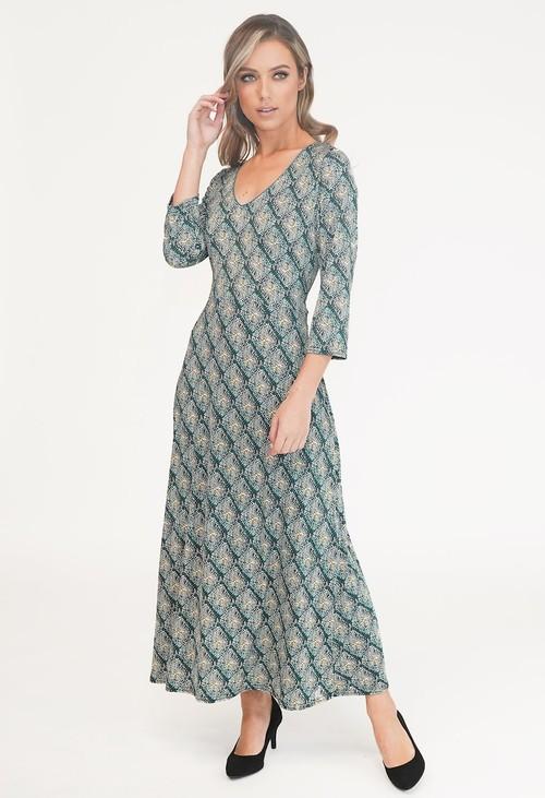 Zapara GREEN V NECK PRINT DRESS
