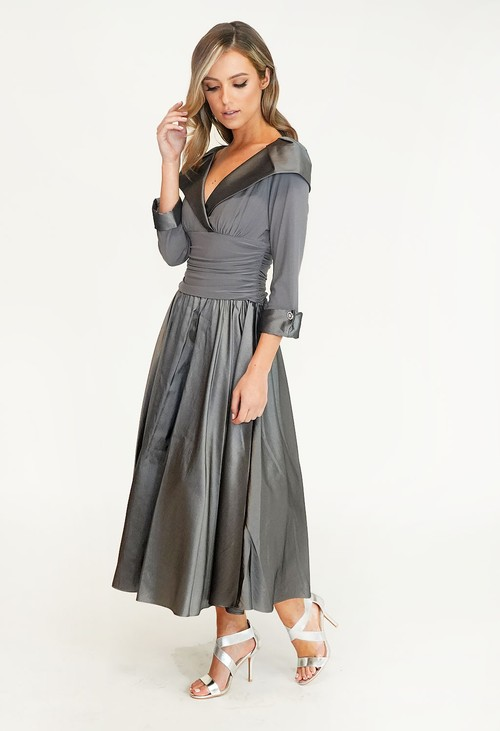 Jessica Howard Silver & Grey Lace Top Dress