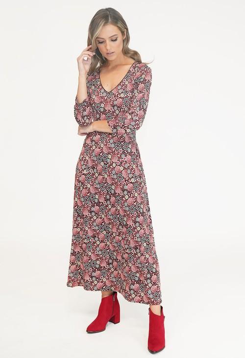 Zapara RED V NECK PRINT DRESS