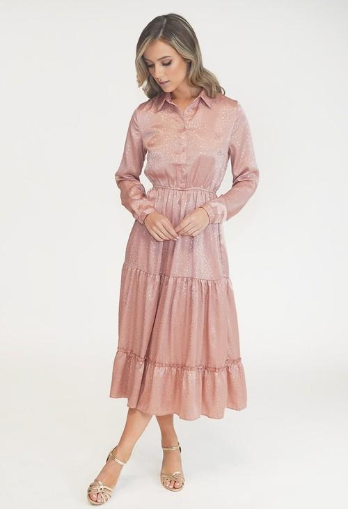 Pamela Scott Rose Diamond Pattern Midi Shirt Dress
