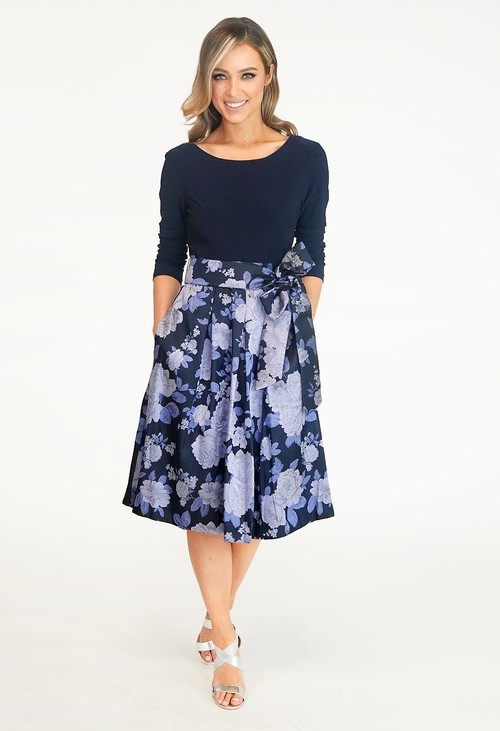 Jessica Howard Navy & Purple Floral Pattern Dress
