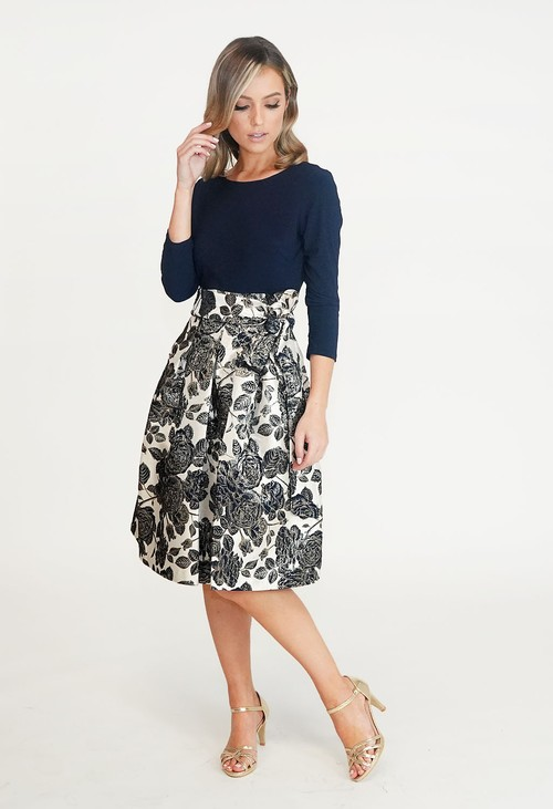 Jessica Howard Navy & Cream Floral Pattern Dress