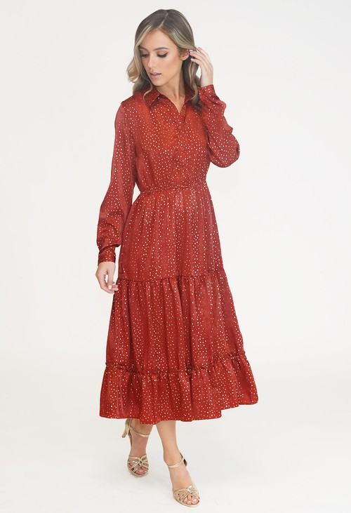 Pamela Scott Rust DIAMOND PATTERN MIDI SHIRT DRESS