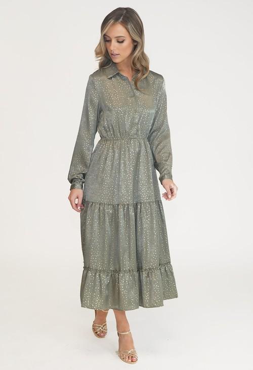 Pamela Scott KHAKI DIAMOND PATTERN MIDI SHIRT DRESS