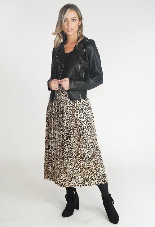 ERFO Leopard Print Pleated Midi Skirt