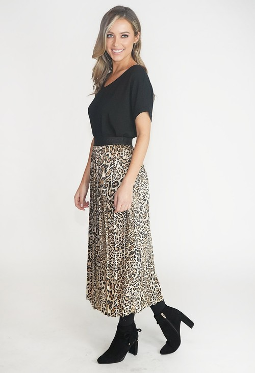 ERFO Leopard Print Pleated Midi Skirt
