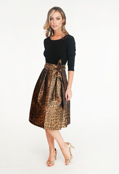 Jessica Howard Black & Bronze Leopard Print Dress