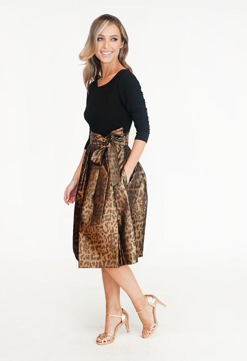 Jessica Howard Black & Bronze Leopard Print Dress