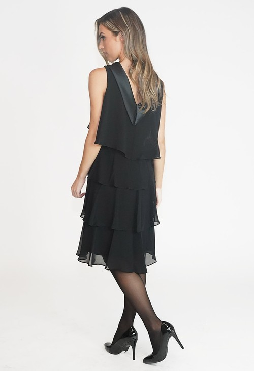 SL Fashions Black Satin Piece Layered Dress
