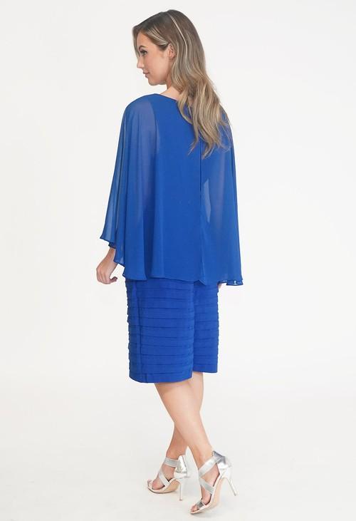 Scarlett Royal Blue Cape Dress with Shoulder Detail