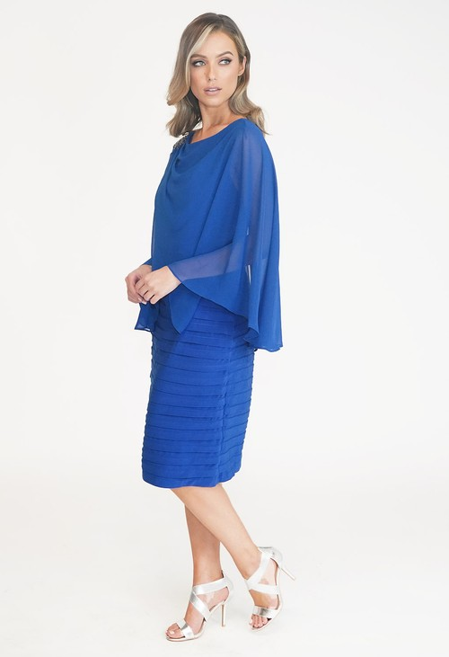 Scarlett Royal Blue Cape Dress with Shoulder Detail