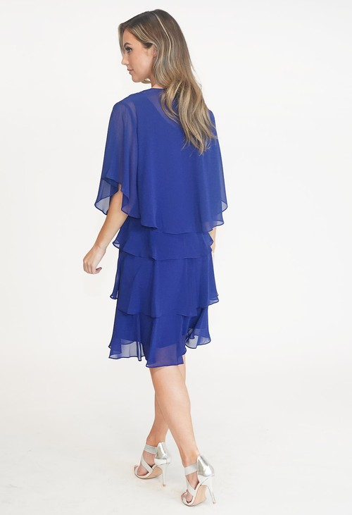 SL Fashions Iris Blue Chiffon Tier Dress