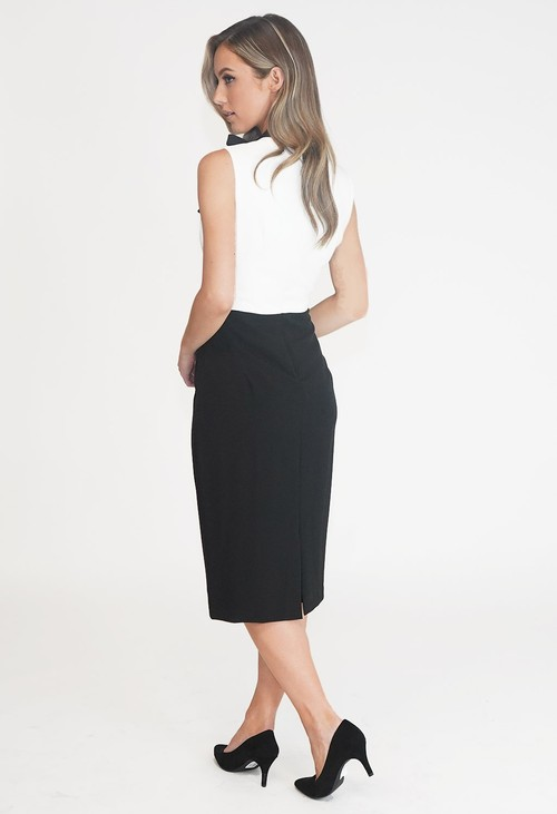 Pamela Scott Black and White Two Tone High Neck Dress