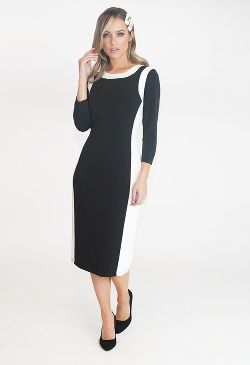 Pamela Scott Black and White Two Tone Round Neck Dress