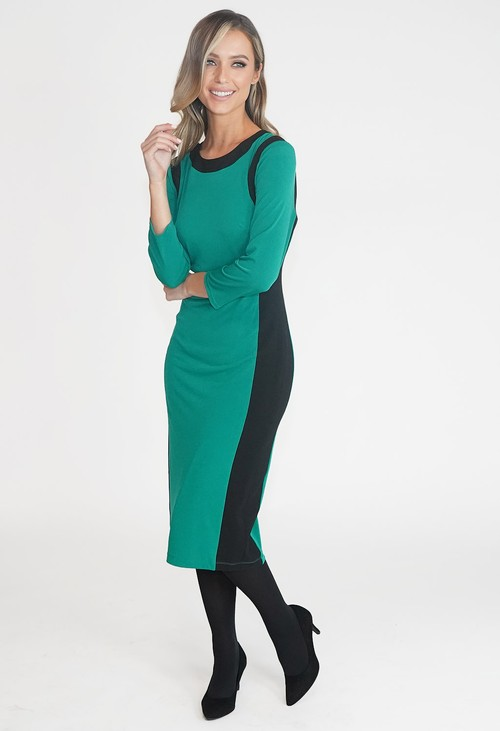 Pamela Scott GREEN AND BLACK TWO TONE ROUND NECK DRESS