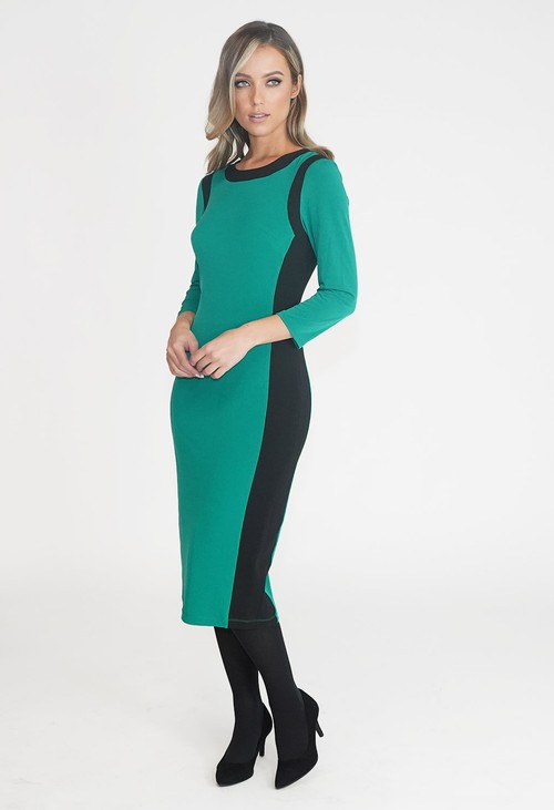 Pamela Scott GREEN AND BLACK TWO TONE ROUND NECK DRESS