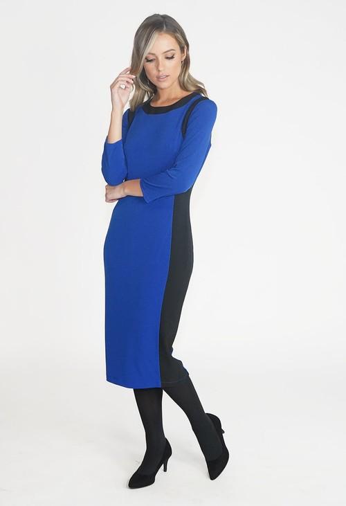 Pamela Scott Blue and Black TWO TONE ROUND NECK DRESS